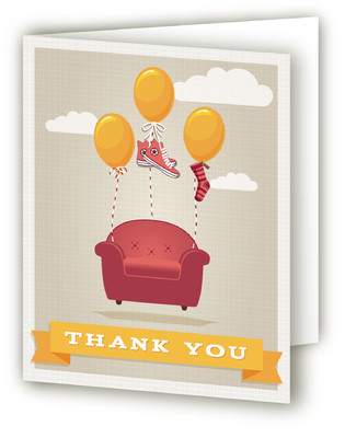 Flying Armchair Moving Announcements Thank You Cards
