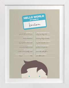 Hello World Nursery Custom Art Print