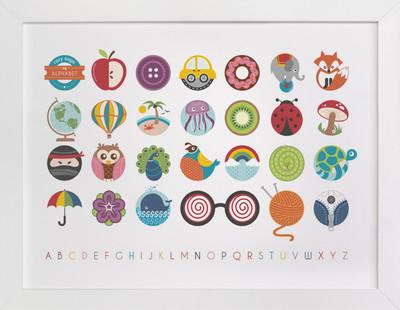 Alphabet in the Round Nursery Custom Art Print