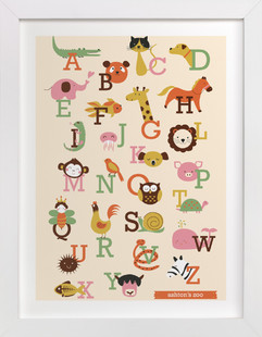 Animal A to Z Nursery Custom Art Print