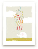 Numbers Elephant Nursery Art Print