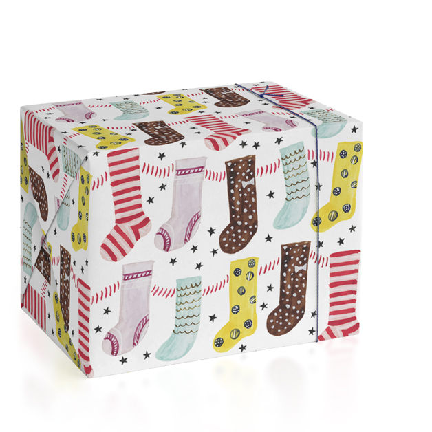Happy Christmas Stockings Wrapping Paper