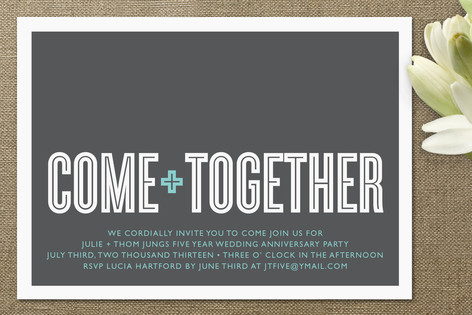 Come Together Anniversary Party Invitations