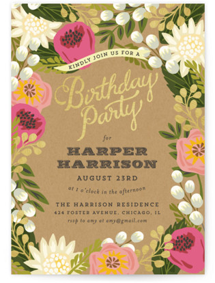 Floral Canopy Party Invitations