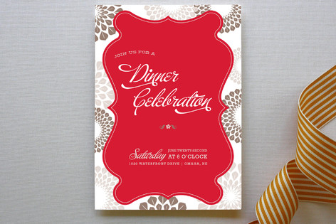 Patterned Floral Kraft Party Invitations