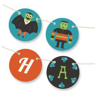 Monster Halloween Personalizable Bunting Banner
