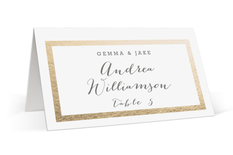 Modern Photo Frame Foil-Pressed Place Cards