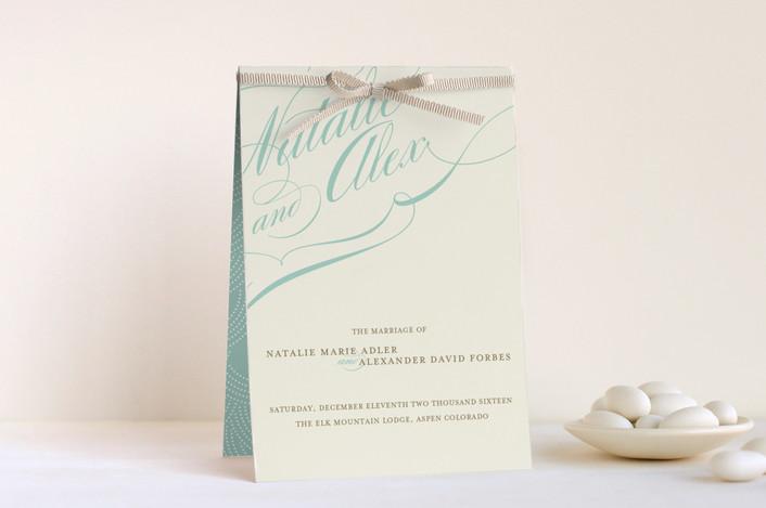 """Winter Flourish"" - Classical, Elegant Unique Wedding Programs in Cornflower by annie clark."