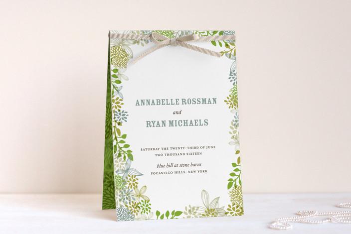 """Fling"" - Rustic, Floral & Botanical Unique Wedding Programs in Leaf by Andrea Mentzer."