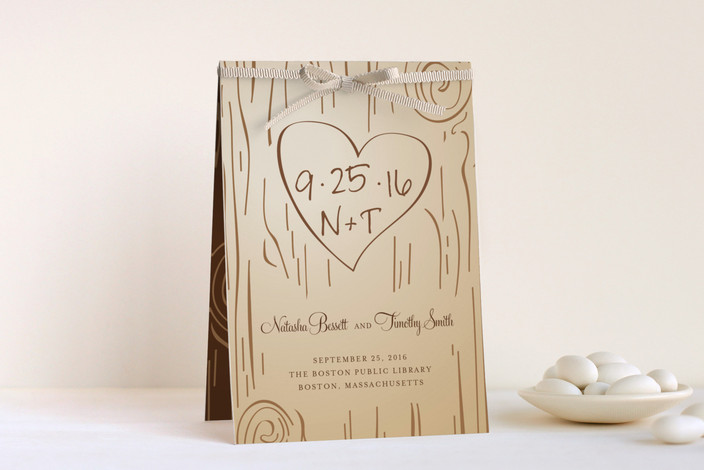 """Fall Carving"" - Monogrammed, Whimsical & Funny Unique Wedding Programs in Woodgrain by Amanda Joy."