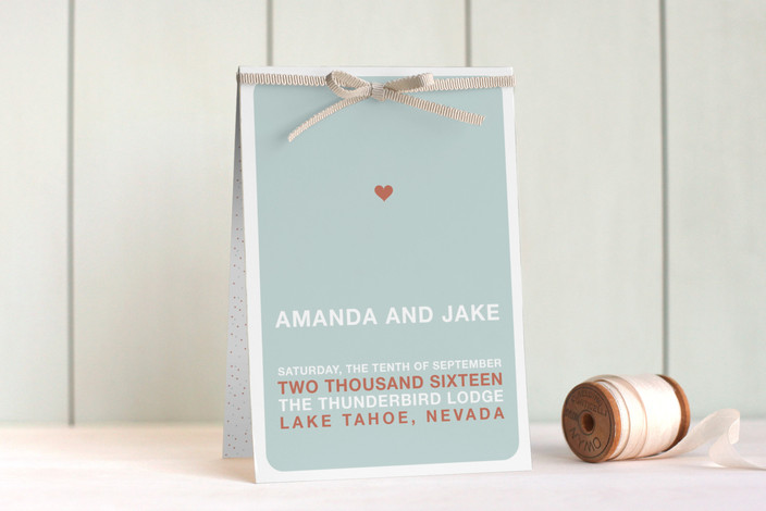 """just married"" - Modern, Simple Unique Wedding Programs in Light Teal by Three Kisses Studio."