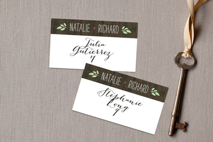"""""""In the Park"""" - Rustic, Floral & Botanical Wedding Place Cards in Pink Coral by Amanda Larsen Design."""