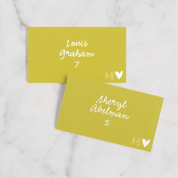 """""""Passing Notes"""" - Modern, Typography Wedding Place Cards in Mustard Seed by annie clark."""
