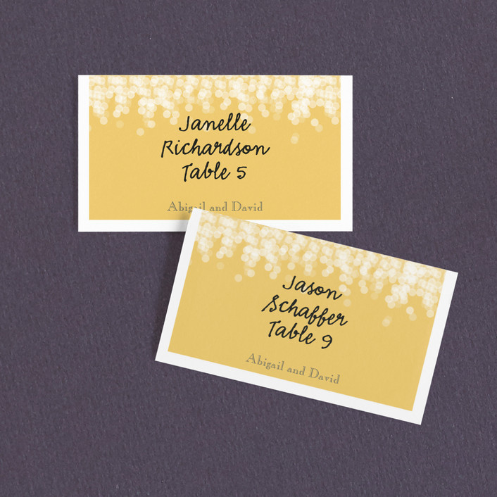 """""""Under the Stars"""" - Whimsical & Funny Wedding Place Cards in Citrus Yellow by Bethany Anderson."""