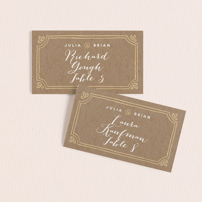 """Hand Delivered"" - Vintage, Typography Wedding Place Cards in Kraft by Jennifer Wick."