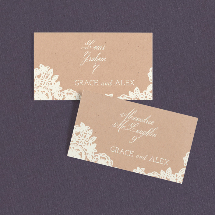 """Lace and Kraft"" - Floral & Botanical Wedding Place Cards in Kraft by Katharine Watson."
