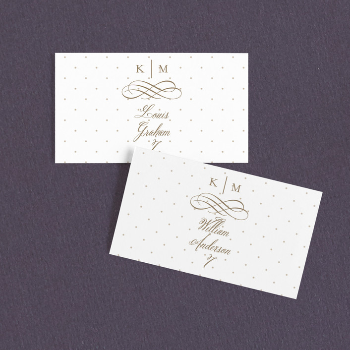 """""""A Glamorous Affair"""" - Monogram, Traditional Wedding Place Cards in Gold by Kristen Smith."""
