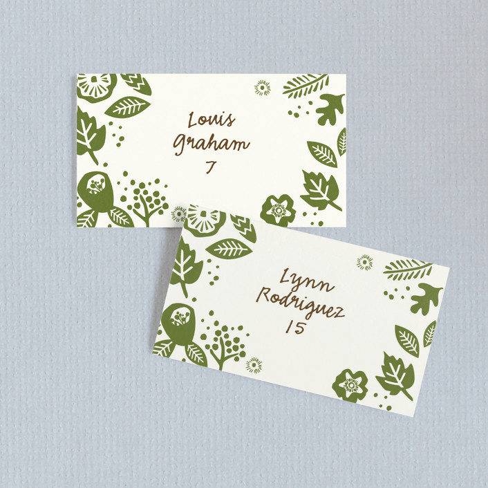 """""""Rustic Harvest"""" - Wedding Place Cards in Hunter by Griffinbell Paper Co.."""