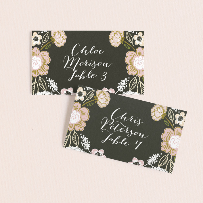 """""""Botanical Wreath"""" - Floral & Botanical Wedding Place Cards in Charcoal by Alethea and Ruth."""