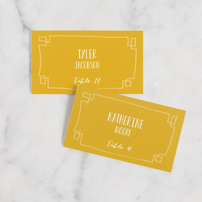 """""""Wanderlust"""" - Bohemian Wedding Place Cards in Mustard by j.bartyn."""
