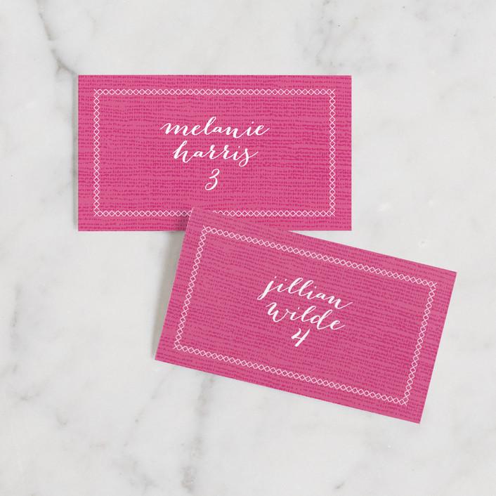 """Wanderlust"" - Bohemian Wedding Place Cards in Magenta by j.bartyn."