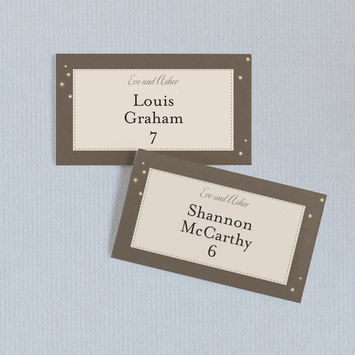 """""""Fireflies"""" - Wedding Place Cards in Zuni Brown by cadence paige design."""