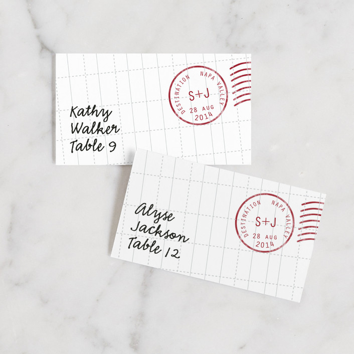 """""""A Faraway Destination"""" - Destination Wedding Place Cards in Deep Red by bumble ink."""