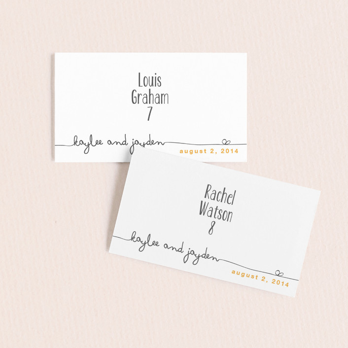 """""""The Happy Couple"""" - Simple Wedding Place Cards in Dark Yellow by R studio."""