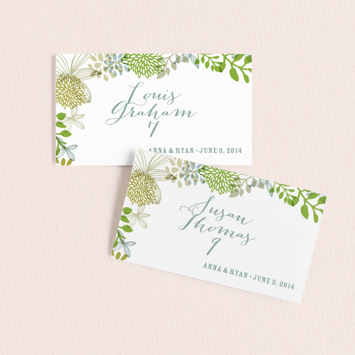"""""""Fling"""" - Floral & Botanical Wedding Place Cards in Clover by Andrea Mentzer."""