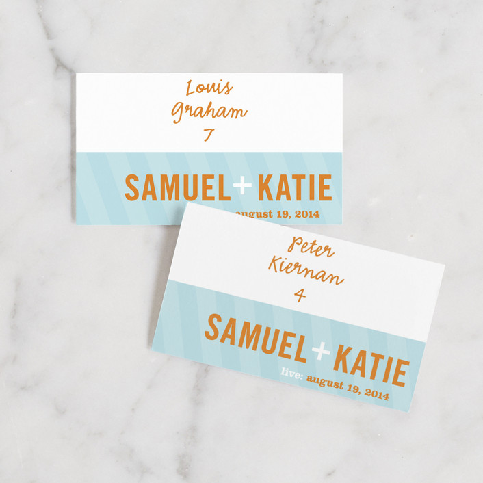"""Smart Conversation"" - Whimsical & Funny Wedding Place Cards in Pool Blue by pottsdesign."