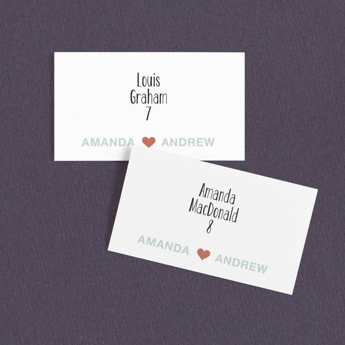"""""""just married"""" - Whimsical & Funny, Typography Wedding Place Cards in Cloud Blue by Three Kisses Studio."""