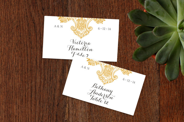 """""""Spanish Lace"""" - Elegant, Formal Wedding Place Cards in Curry by annie clark."""