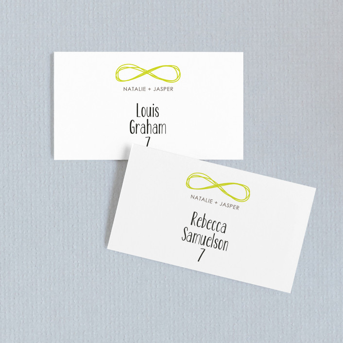 """""""Infinite"""" - Wedding Place Cards in Bright Lime by The AV Design Factory."""
