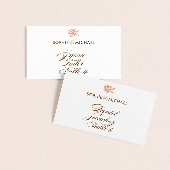 """""""Coral"""" - Beach Wedding Place Cards in Tangelo by Oscar & Emma."""