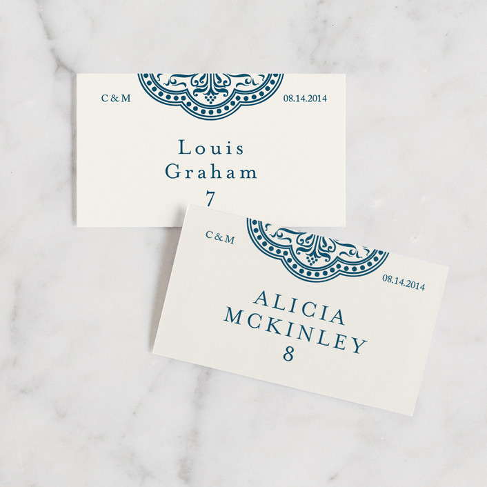"""Ornamental"" - Wedding Place Cards in Sapphire by Paperview Designs."