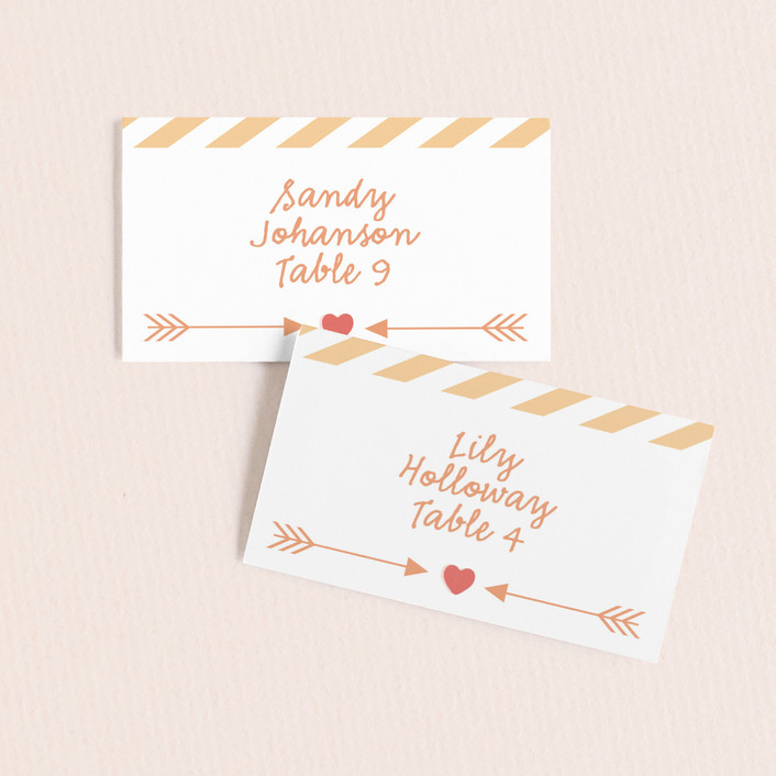 """""""Conversation Heart Valentine"""" - Wedding Place Cards in Cotton by Sarah Curry."""