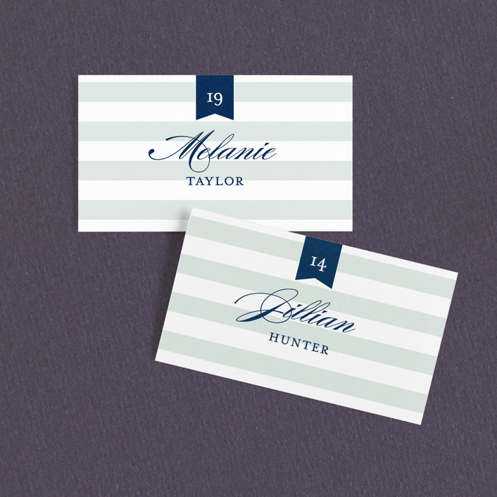 """""""Nautical"""" - Preppy Wedding Place Cards in Seafoam by Jill Means."""