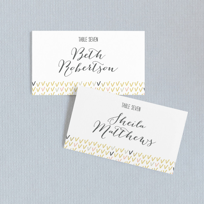 """Arrowhead Pastels"" - Modern, Whimsical & Funny Wedding Place Cards in Cotton by Stacey Meacham."