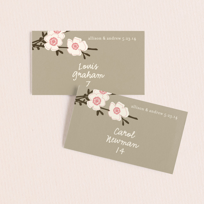 """""""Apple Blossom"""" - Floral & Botanical Wedding Place Cards in Blush by annie clark."""