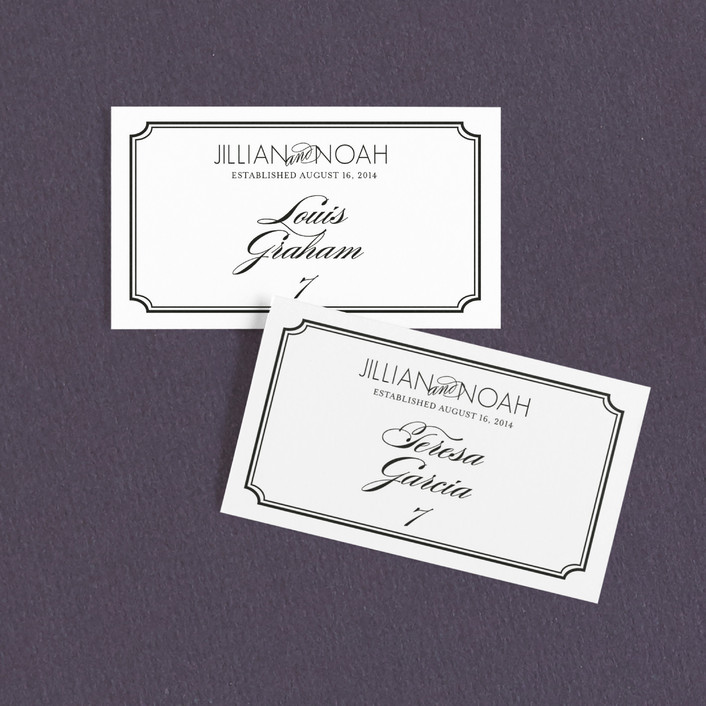 """Modern Classic"" - Formal, Classical Wedding Place Cards in Black by annie clark."