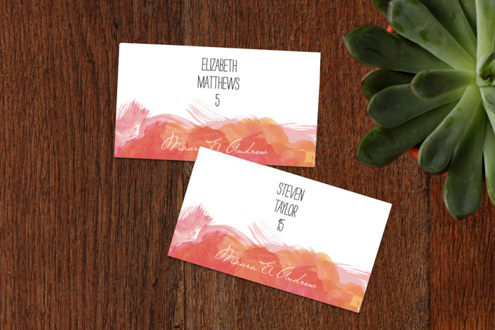 """""""Aquarelle"""" - Wedding Place Cards in Apricot Rose by Paper Plains."""
