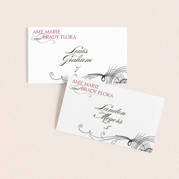 """""""Amy"""" - Elegant, Typography Wedding Place Cards in Berry Red by Splendid Press."""