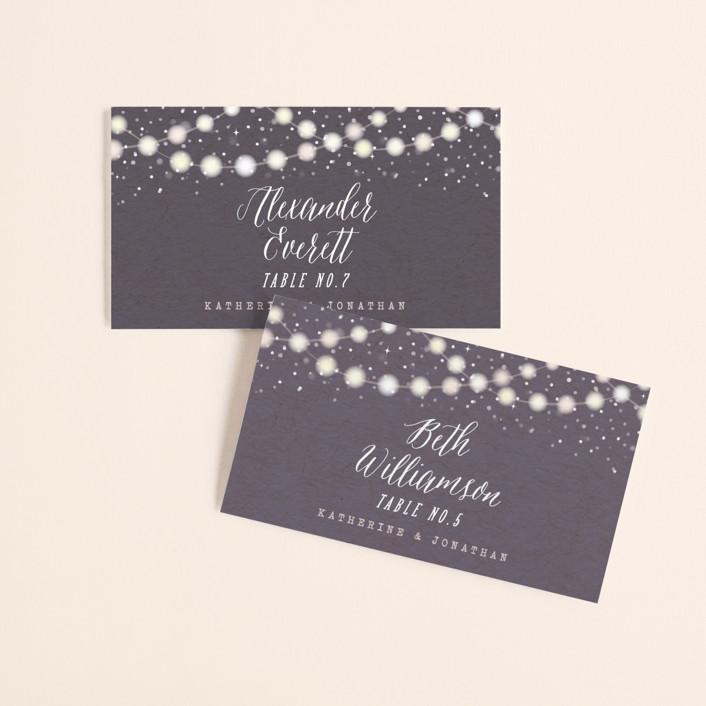 """Garden Lights"" - Rustic, Whimsical & Funny Wedding Place Cards in Plum by Hooray Creative."