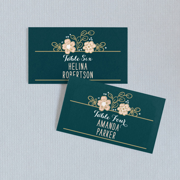 """Country Florals"" - Floral & Botanical, Rustic Wedding Place Cards in Navy by Alethea and Ruth."