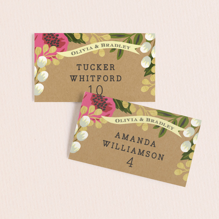 """""""Floral Canopy"""" - Floral & Botanical Wedding Place Cards in Peony by Griffinbell Paper Co.."""