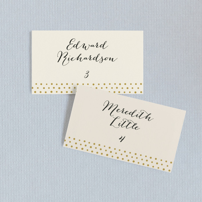 """Milkglass Border"" - Elegant, Classical Wedding Place Cards in Gold Patina by Jennifer Wick."