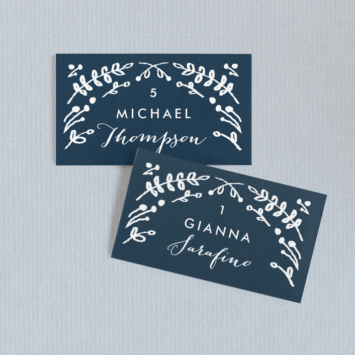 """Floral Frame Square"" - Floral & Botanical Wedding Place Cards in Navy by Lori Wemple."