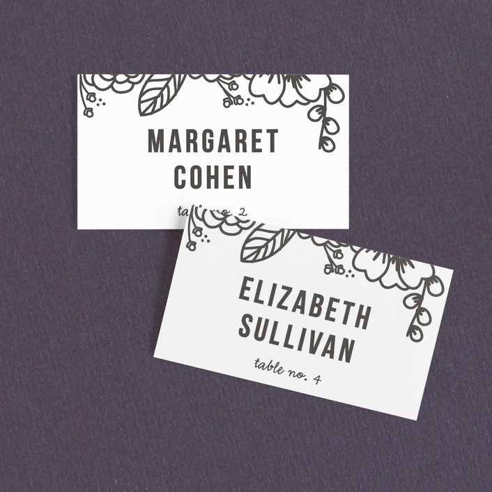 """""""Modern Botanicals"""" - Modern, Floral & Botanical Wedding Place Cards in Lily by Natalie Nakai."""