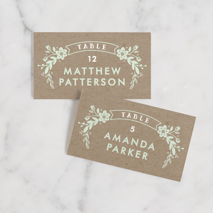 """""""Ampersand Floral"""" - Floral & Botanical, Rustic Wedding Place Cards in Mint by Alethea and Ruth."""