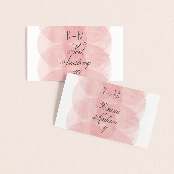"""""""Bliss"""" - Modern, Simple Wedding Place Cards in Blush by Kristie Kern."""
